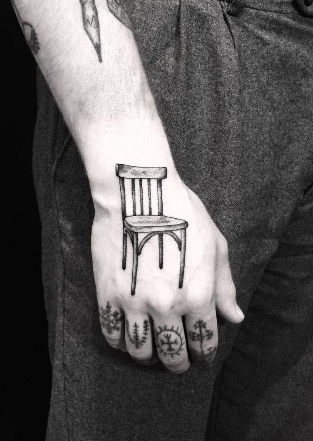 Wooden Chair Tattoo Inkstylemag Ink Tattoo Tattoos Tattoo Designs