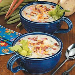 Country Potato Chowder Recipe -This creamy comforting chowder is thick with potatoes, carrots, green beans and corn. My mother served it on chilly evenings with warm French bread. Leftovers, if there are any, taste just as good and make a great lazy-day lunch. -Sara Phillips, Topeka, Kansas
