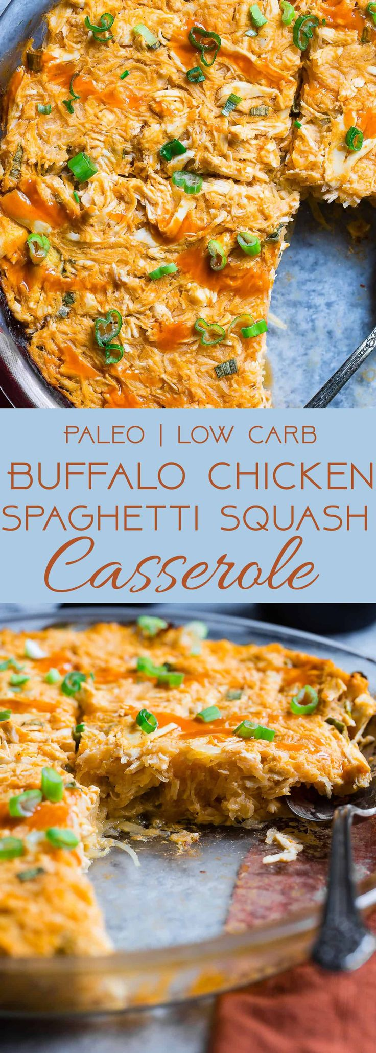 Paleo Buffalo Chicken Baked Spaghetti Squash Casserole -This EASY, keto and whole30 casserole is only 7 ingredients, 320 calories and packed with protein! It's a family friendly, low carb, weeknight dinner that even picky eaters will love!   #Foodfaithfitness   #Keto #paleo #glutenfree #whole30 #kidfriendly