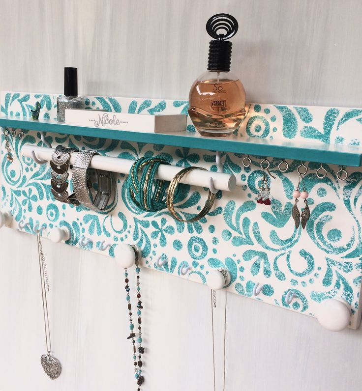 Handmade jewellery display - Jewelry organiser with shelf - Necklace holder - Bangle bar - Rings & studs compartment - Wooden knobs - Teal by ebonyredcreations on Etsy https://www.etsy.com/au/listing/516201475/handmade-jewellery-display-jewelry