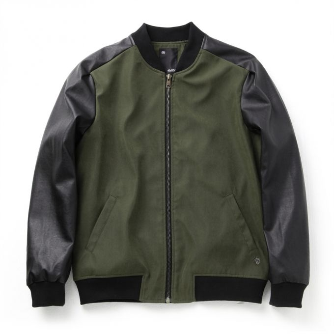 Leather sleeve varsity jacket  (High quality of soft fabrics used) Regular fit, waist length Zip closure  2 welt pockets in front Ribbing at collar, hem and cuffs  Khaki Color