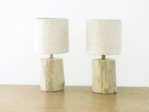 lot de 2 lampes bois flotté chevets rondins abat-jour Ø