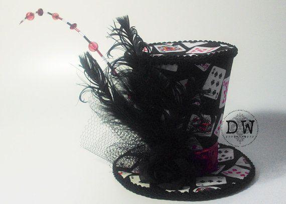Vegas Black Red Poker Lady Luck Mini Top Hat by DawnetteWalters