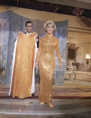 6/24/14 5:53a 20th Century Fox ''Do Not Disturb'' Doris Day Golden/Bronze Sequin Gown and Matching White Coat Released: 12/1965.