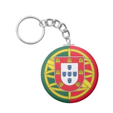 Portuguese flag quality basic round button keychain Zazzle_keychain
