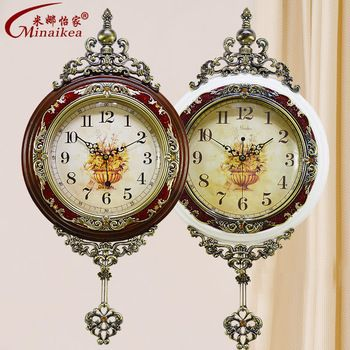 European wood wall clock creative pastoral living room table when large quartz pendulum shipping fashion antique muted