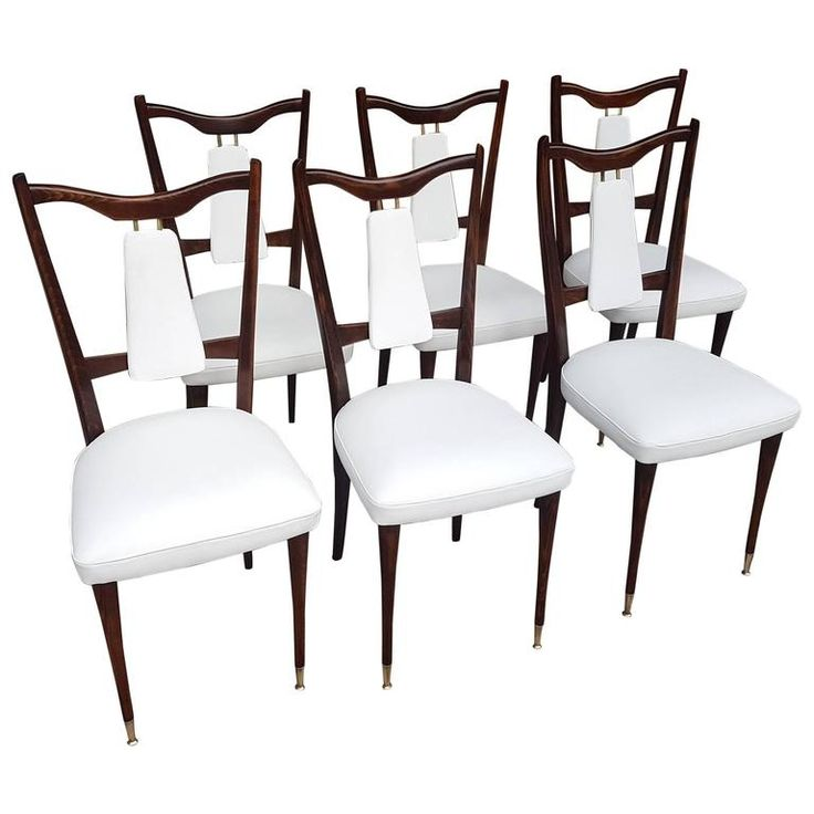 Six Italian White Leather Dining Room Chairs Mid Century Period 1960s  Restored