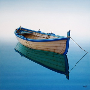 beautiful water reflection of resting boat blue brown wooden water float