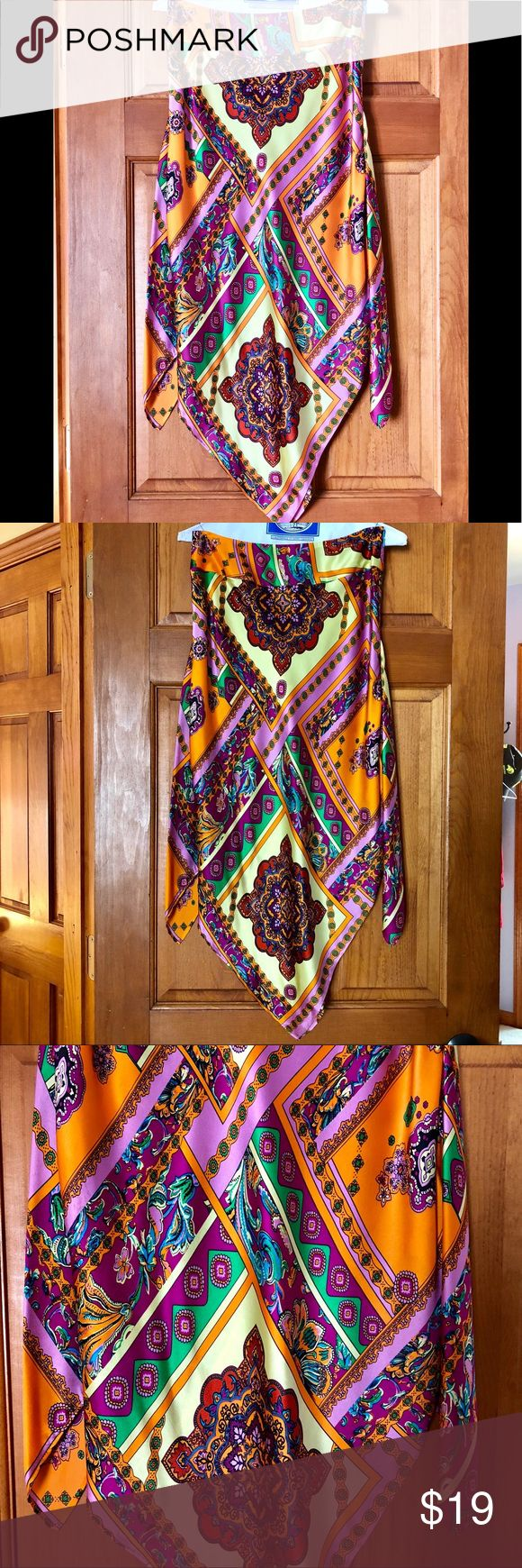 Silk Multi color Handkerchief style skirt 100% silk handkerchief style skirt designed by Andrea Behar for Boston Proper. This multi color skirt is perfect for any occasion.   Worn a few times, excellent condition. Boston Proper Skirts Asymmetrical