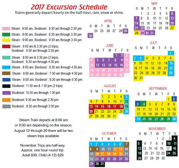 2017 Cog Railway Schedule