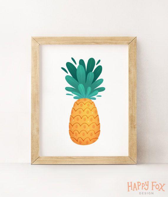 Ananas bedruckbare Ananas Wand tropischen Wandkunst Ananas Dekor Kinderzimmer Dekoration Küche Kunst tropischen Dekor Sommer Kunstdruck Ananas Kunst