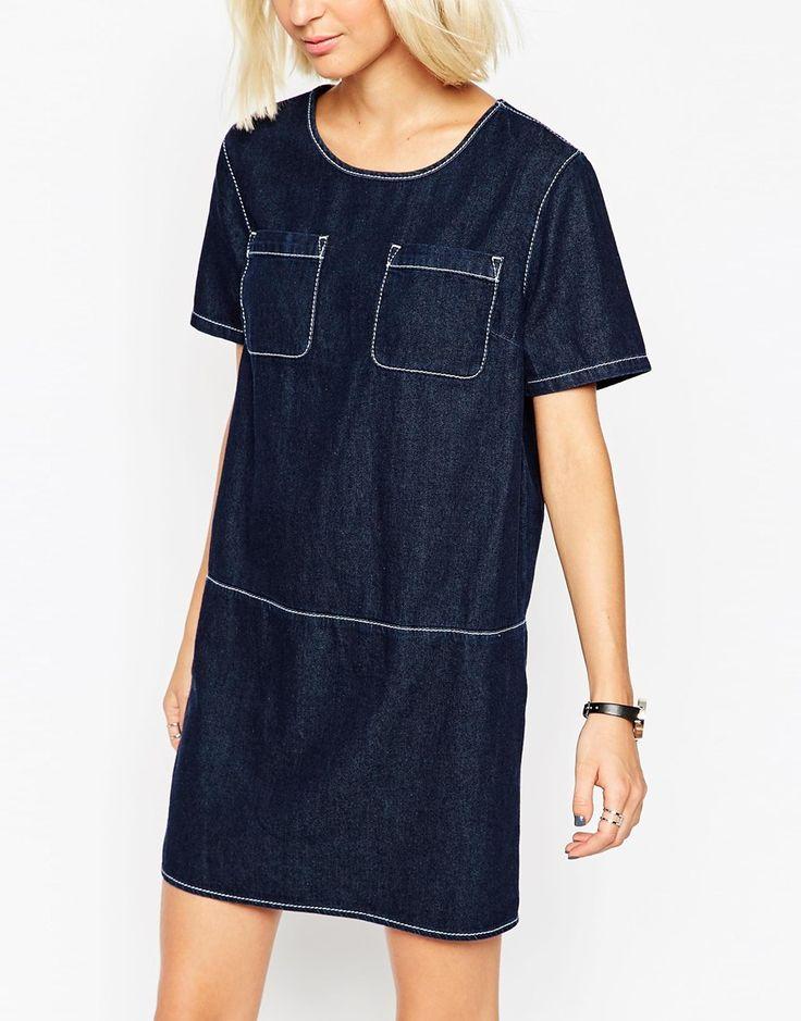 Image 3 ofASOS Denim Tunic Dress With Contrast Stitching