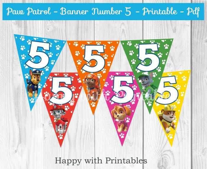 Paw Patrol Banner Number 5 - Paw Patrol Banner - Banner Number 5 - Paw Patrol Party - Paw Patrol Birthday decoration by HappywithPrintables on Etsy