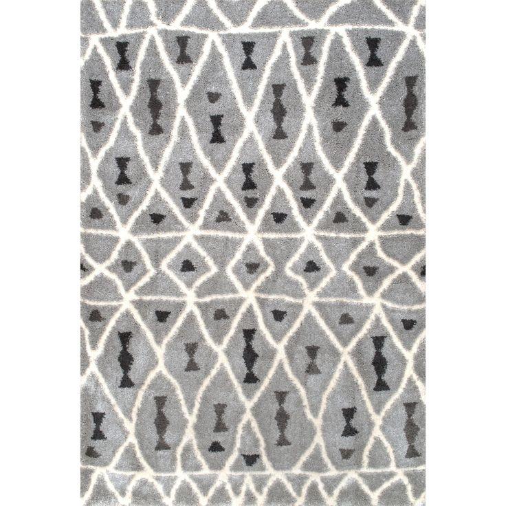 nuloom soft and plush moroccan diamond grey shag rug 7u002710 x 10u0027