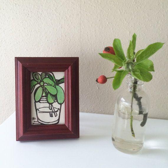 Mini Plant Portrait  Jade No 1 by AmyMHuberShop on Etsy