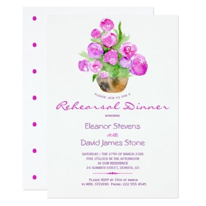 Watercolor blush hot pink rustic rehearsal dinner card - invitations custom unique diy personalize occasions