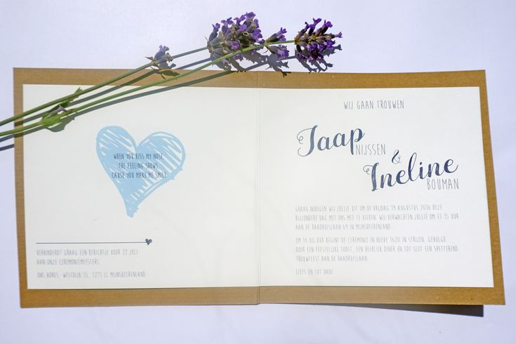 Trouwkaart Jaap & Ineline | Ontwerp door Cortine Design | www.cortinedesign.nl | #cortinedesign #trouwkaart #savethedate #wedding #save #the #date #trouwen #kraft #kaart #weddingcard #weddingannouncement #kraft #blue #tijdlijn #timeline #heart