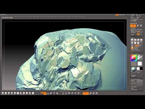 Zbrush rock sculpting technique:   Build up large forms with ClayTubes. TrimSmoothBorder brush with square alpha to define the rock texture. Adding and subtracting with specific brushstrokes to grip onto the uneven clay tubes surface.