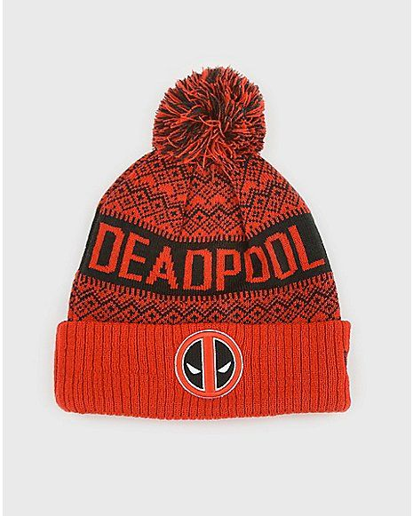 Pom Deadpool Beanie Hat - Marvel - Spencer's #DeadPoolHat #DeadPoolGifts #DeadPoolGiftIdeas #DeadPoolFan