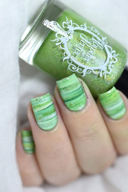 Nailstorming - Pantone 2017 Greenery [DRY MARBLE VIDEO TUTORIAL] - Marble nail art - smooshy technique nails