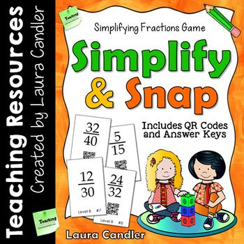 Simplify and Snap is an engaging and effective task card math review game for simplifying fractions. Students can play the game with a partner, in math centers, or in cooperative learning teams. To play the game, students flip over fraction cards and try to simplify them.