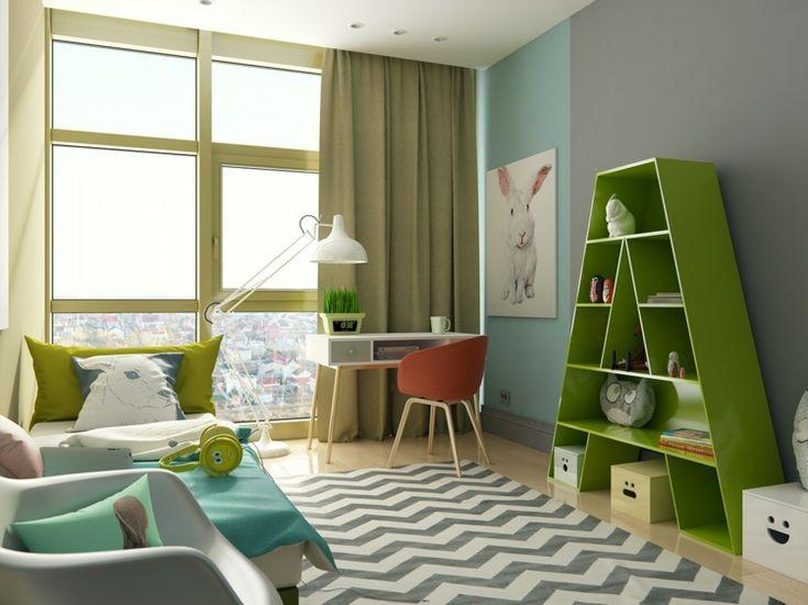 Modernes Kinderzimmer Design Regal Teppich Thematisch Gestalten #kids  #bedroom Amazing Design