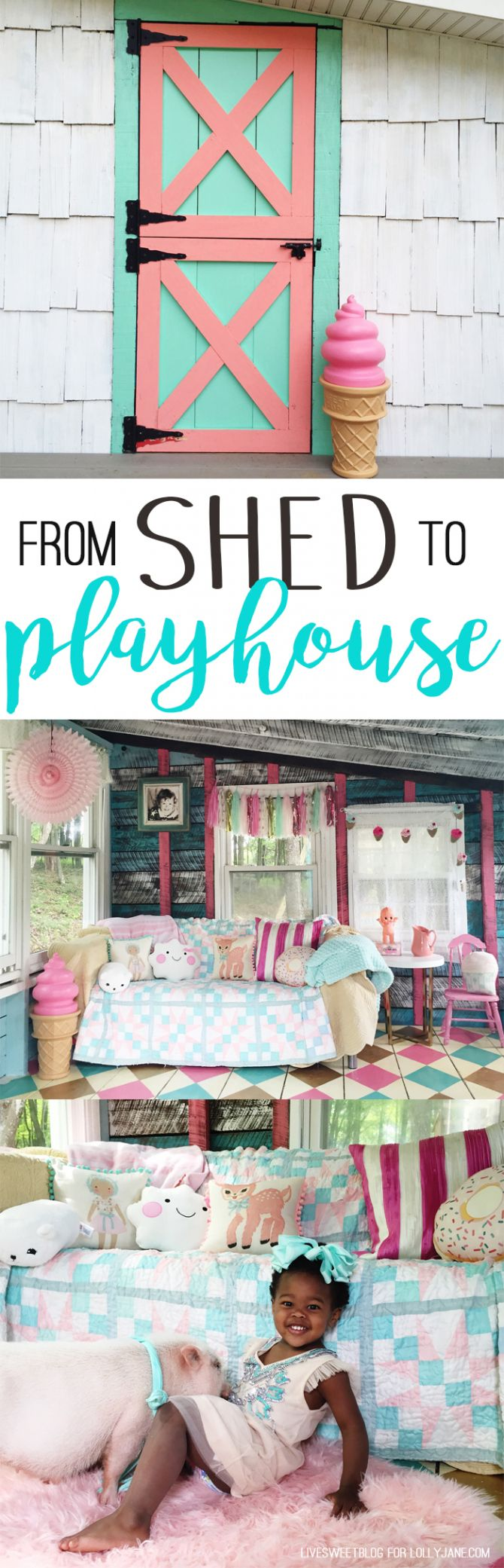 Darling old she shed turned playroom! Love the painted argyle, stripes + polka…