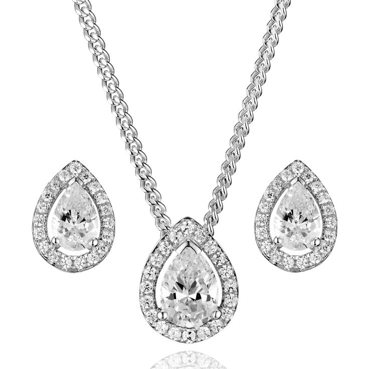 Women's Beautiful 925 Silver Solitaire Bracelet + Matching Earrings + Matching Necklace UQUGfxd