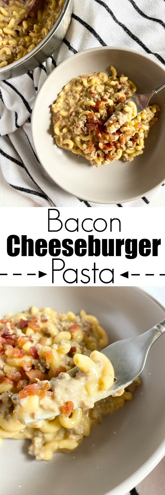 All the flavors of a juicy bacon cheeseburger in pasta! This Bacon Cheeseburger Pasta is a family favorite. So I teased…
