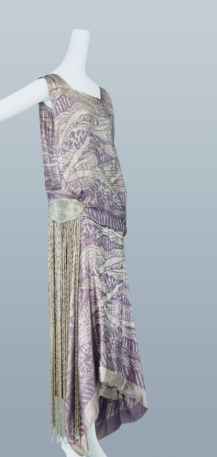 Evening Dress, Liberty & Co.: ca. 1924, silk jacquard with lamé in scenic image, bead embroidery and fringe embellishment.