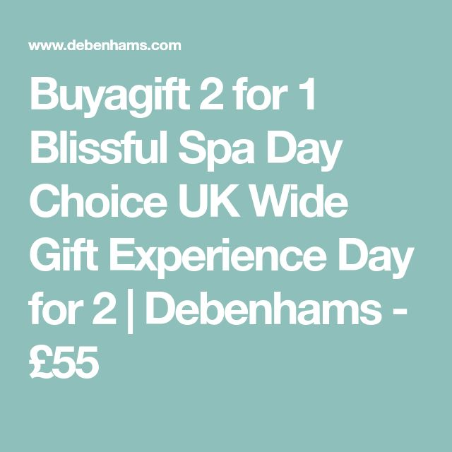 Buyagift 2 for 1 Blissful Spa Day Choice UK Wide Gift Experience Day for 2   Debenhams - £55