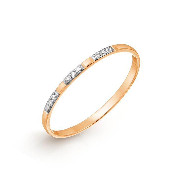Кольцо из красного золота 375 пробы с белыми бриллиантами (арт. Т246017638)ювелирный магазин KARATOV.COM