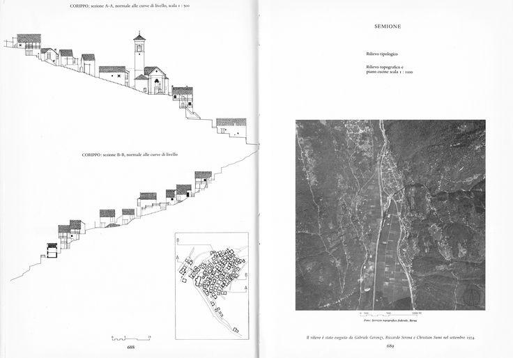 Corippo Elevation, after the work of Luigi Snozzi and Henk Block, enriched by elements from typological plates, 1979 (Aldo Rossi, Eraldo Consolascio, Max Bosshard, La Costruzione Del Territorio Nel Cantone Ticino, Lugano, Fondazione Ticino Nostro, 1979, pp. 688)