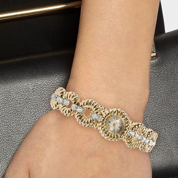 French 1960s Van Cleef & Arpels 18K Gold & Diamond Watch Bracelet #VanCleefArpels #Watches