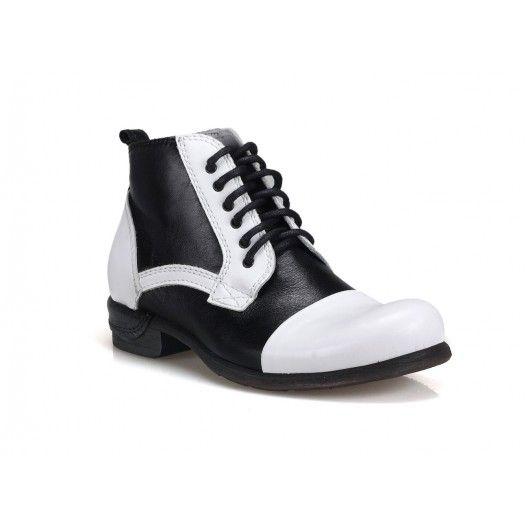 Kožené pánske topánky bieločiernej farby COMODO E SANO - fashionday.eu