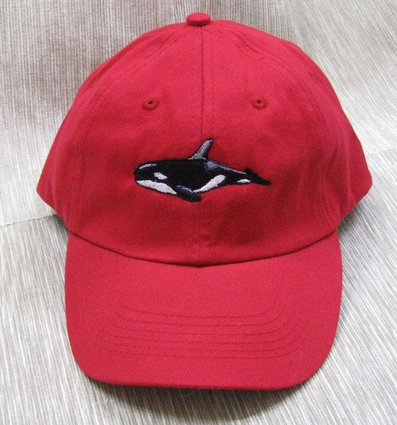 Orca Whale Embroidered on Red Baseball Cap