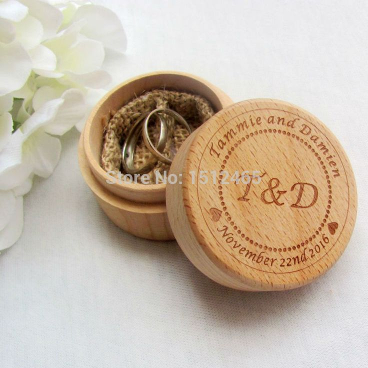 Personalized Round Rustic Wedding Wooden Ring Box Ring Bearer Wedding Ring Pillow