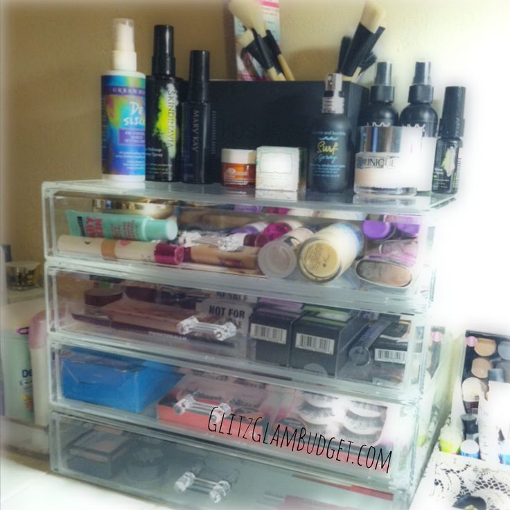 How I Organize My Makeup Collection With Extra Large Cosmetic Stackable Drawers #makeup #cosmetics #beauty