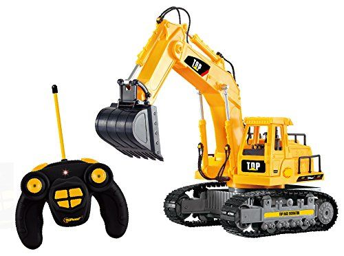Top Race 7 Ch Full Functional Excavator, Electric RC Remote Control Construction Tractor with Lights & Sound. Fully Functional: Forward, backward, Left, Right, Arm Up and Down, Rotating 680° Degrees With Lights Very Detailed just like the real thing, for indoors or outdoors, sandbox etc. . . . read more . . . pls repin