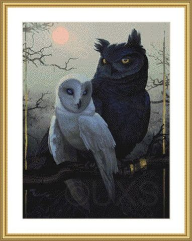 Of a Feather owls modern counted cross stitch kit – Unconventional X Stitch