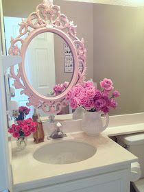 My Shabby Chic Home: My bathroom. Not the pink but the mirror frame.