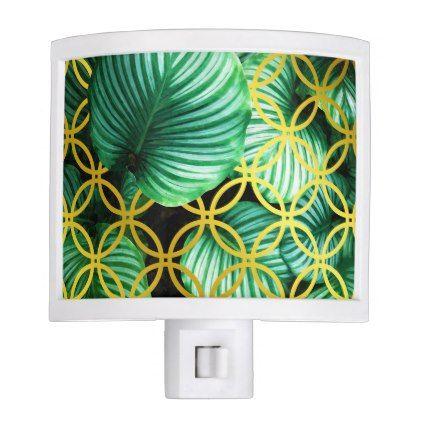 Leaves Geometric Tropical Modern Illustration Night Light - modern gifts cyo gift ideas personalize