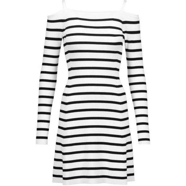 Theory - Pirellia Cold-shoulder Striped Ribbed-knit Mini Dress ($199) ❤ liked on Polyvore featuring dresses, white, cutout shoulder dresses, cut out shoulder dress, cut-out shoulder dresses, mini dress and theory dresses