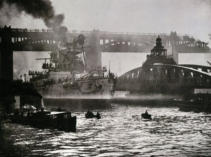 IJN British built pre-dreadnought battleship Hatsuse passing the High Level & Swing Bridges moving down the River Tyne shortly after completion, 1901. She had a short career- fought in The Battle of Port Arthur but struck a mine and sank while on blockade duty shortly afterwards, 1904.