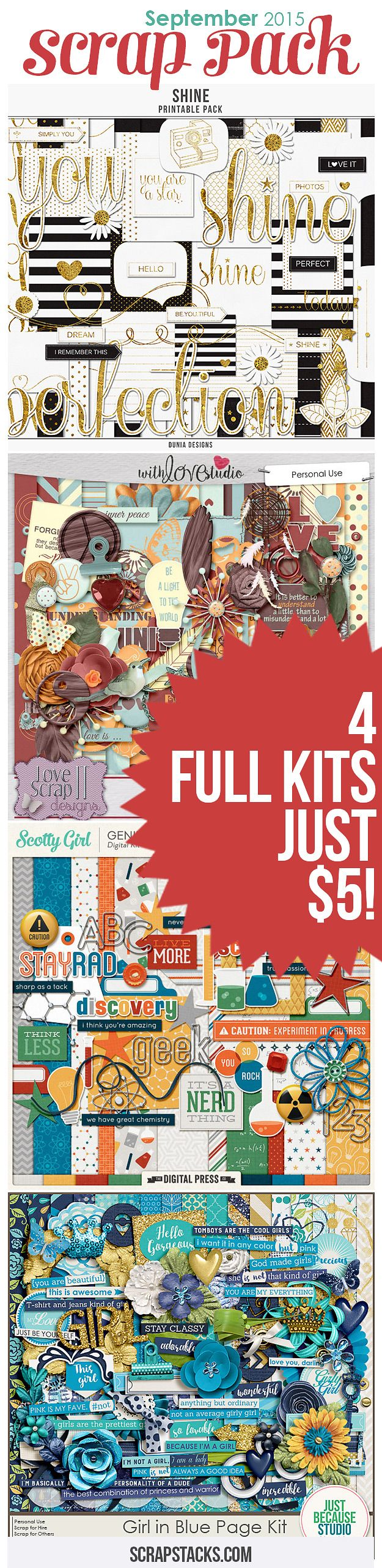 The September Scrap Pack is here! 4 Digital Scrapbooking kits for just $5!