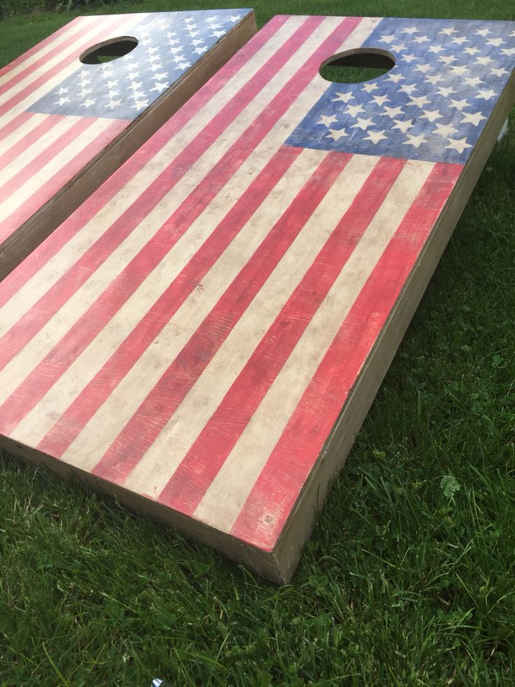 Hand-painted country/rustic American flag corn hole boards
