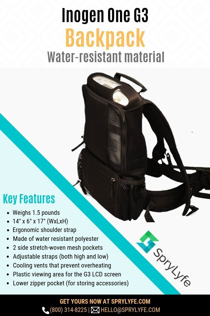 dc2e1771b The #Inogen One G3 Backpack secures your oxygen concentrator during  transport. It's durable, comfortable, and lightweight, with mesh vents that  prevent your ...