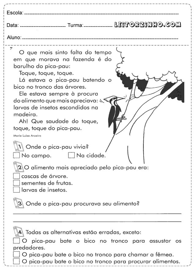 Atividades de português 5° ano - Interpretação de texto