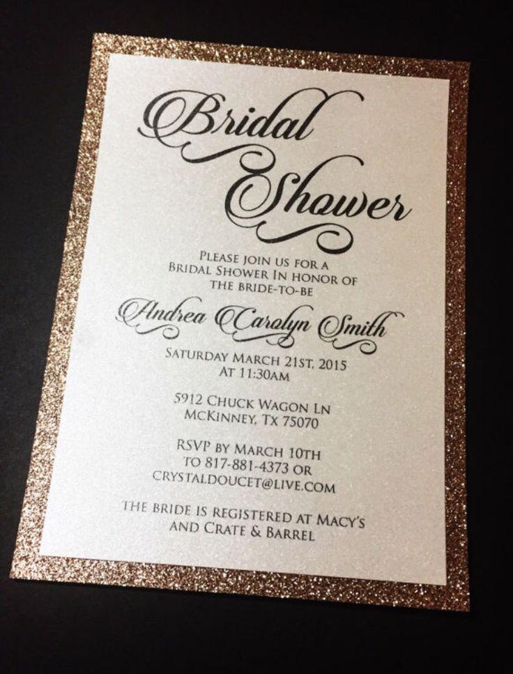 Bridal Shower Invitation Glitter Bridal Shower