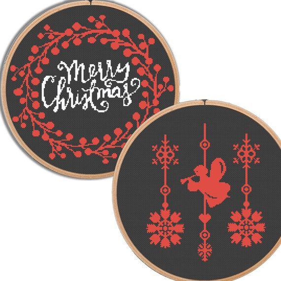 Christmas Cross Stitch Pattern Merry Christmas by NikkiPattern